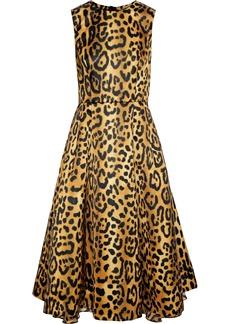Adam Lippes Woman Flared Leopard-print Duchesse-satin Dress Animal Print