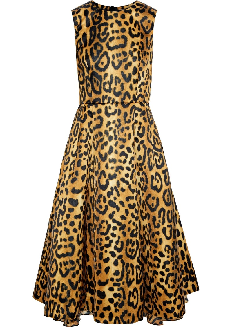 Adam Lippes Woman Flared Leopard-print Duchesse-satin Dress Animal Print