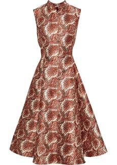 Adam Lippes Woman Flared Printed Satin-jacquard Dress Cream