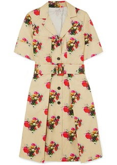 Adam Lippes Woman Floral-print Belted Cotton-twill Dress Beige