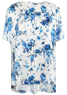 Adam Lippes Woman Floral-print Hammered-silk Blouse Off-white