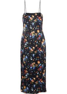 Adam Lippes Woman Floral-print Hammered Silk-satin Midi Slip Dress Black