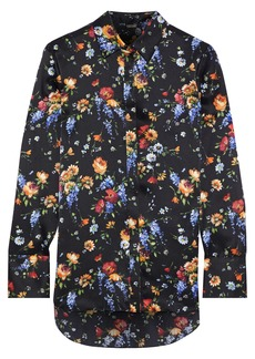 Adam Lippes Woman Floral-print Hammered-silk Shirt Black