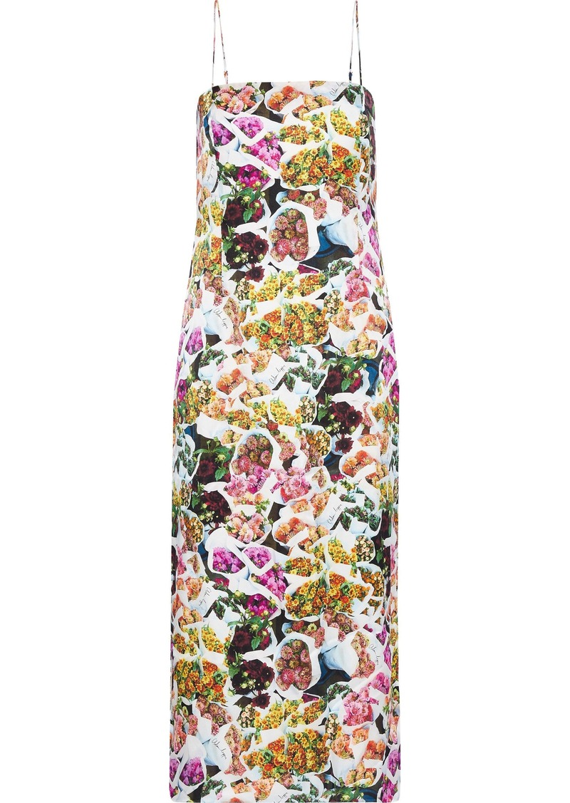 Adam Lippes Woman Floral-print Silk Midi Dress Multicolor