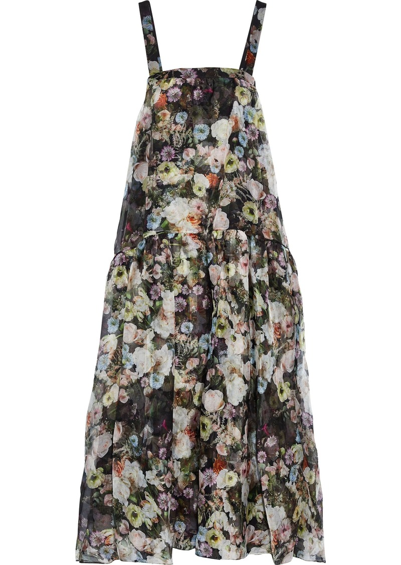 Adam Lippes Woman Floral-print Silk-organza Maxi Dress Multicolor