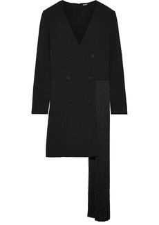 Adam Lippes Woman Fringed Wrap-effect Stretch-crepe Mini Dress Black