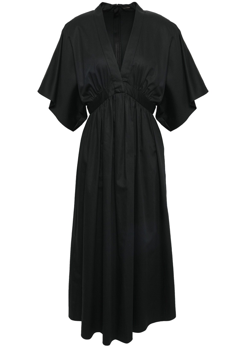 Adam Lippes Woman Gathered Cotton-poplin Midi Dress Black