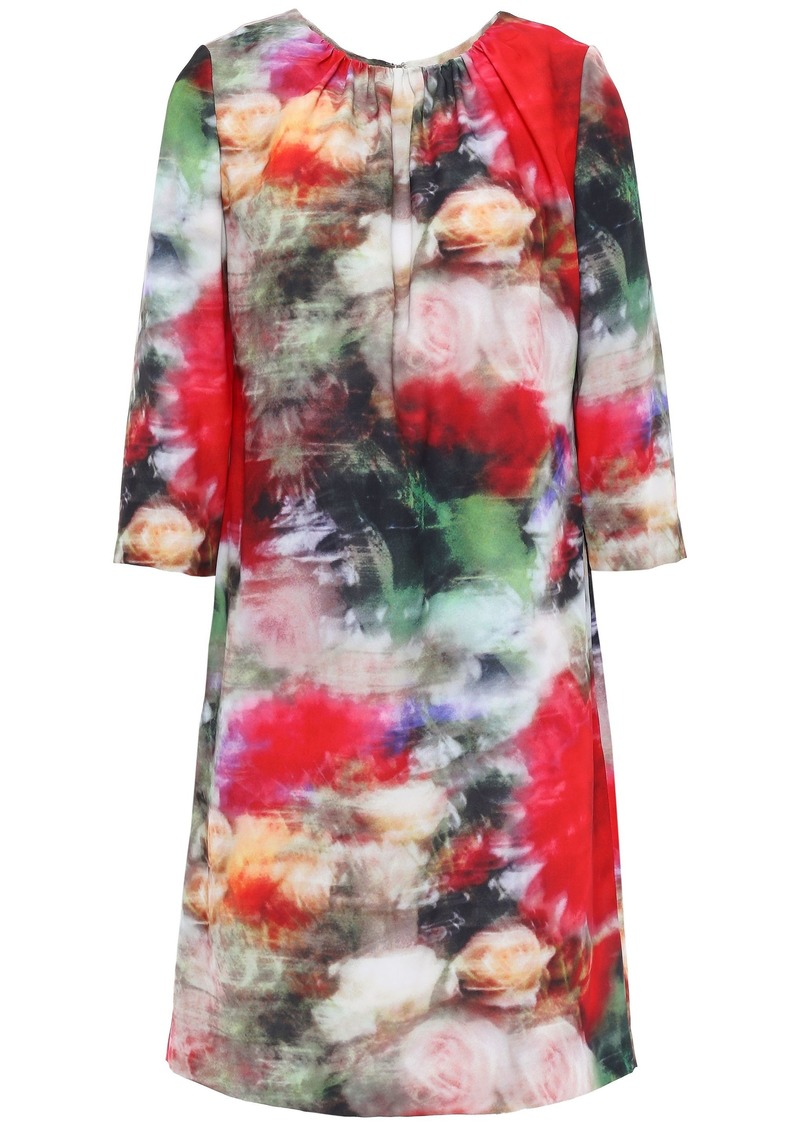 Adam Lippes Woman Gathered Floral-print Crepe Mini Dress Multicolor