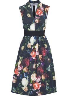 Adam Lippes Woman Gathered Floral-print Stretch-cotton Poplin Dress Black