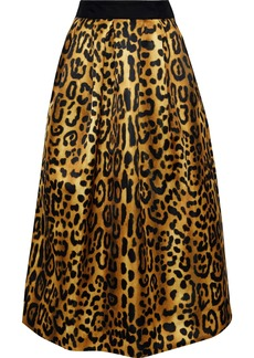 Adam Lippes Woman Gathered Leopard-print Duchesse-satin Midi Skirt Animal Print