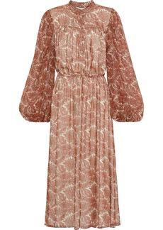 Adam Lippes Woman Gathered Printed Silk-chiffon Midi Dress Cream
