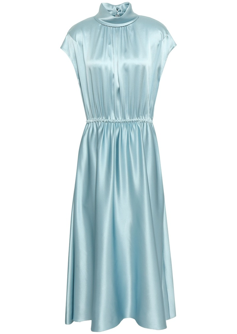 Adam Lippes Woman Gathered Silk-satin Midi Dress Sky Blue