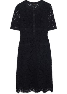 Adam Lippes Woman Grosgrain-trimmed Cotton-blend Corded Lace Mini Dress Black
