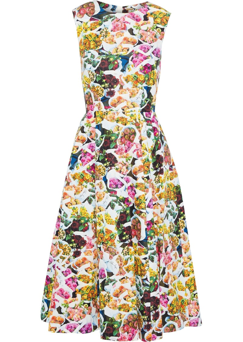 Adam Lippes Woman Grosgrain-trimmed Floral-print Cotton And Silk-blend Faille Dress Multicolor