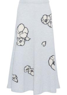 Adam Lippes Woman Cashmere And Silk-blend Jacquard Midi Skirt Light Blue