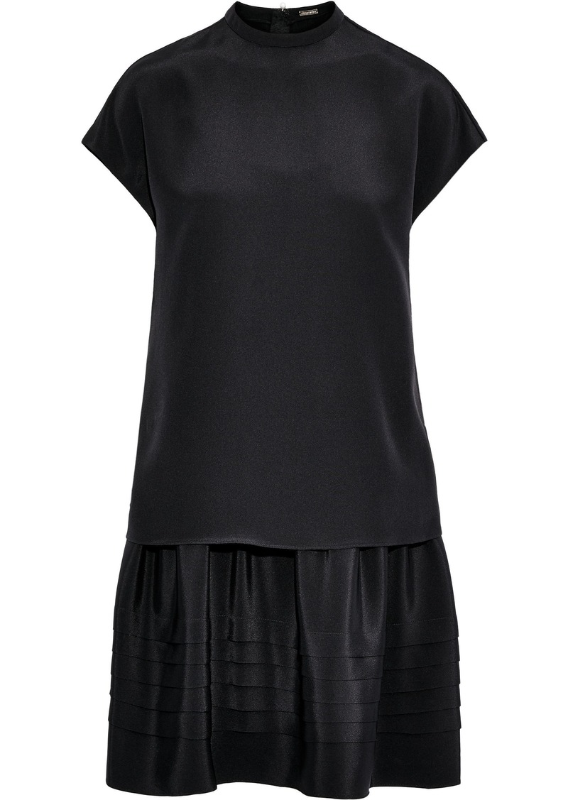 Adam Lippes Woman Layered Silk-crepe Mini Dress Black