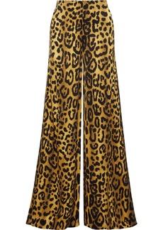 Adam Lippes Woman Leopard-print Satin-crepe Wide-leg Pants Animal Print