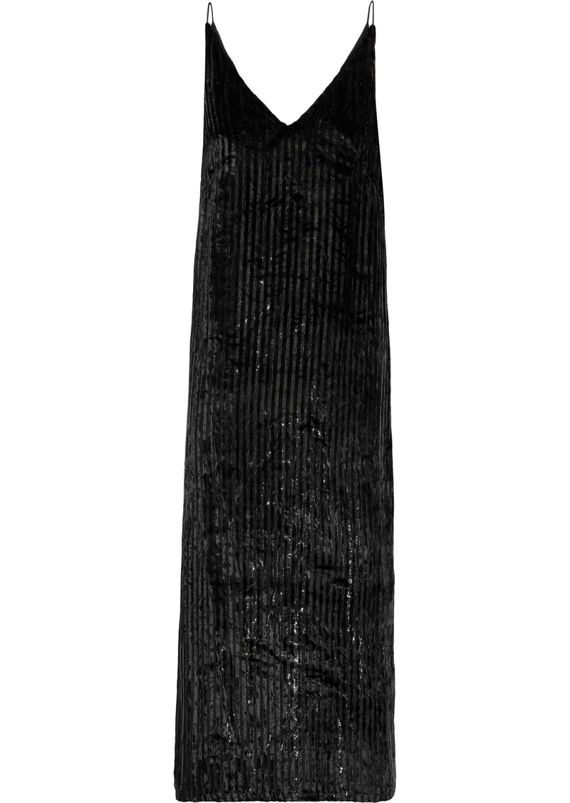 Adam Lippes Woman Metallic Striped Velvet Midi Slip Dress Black