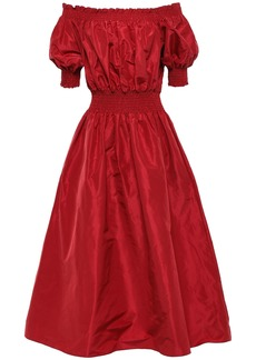 Adam Lippes Woman Off-the-shoulder Shirred Silk-taffeta Midi Dress Claret