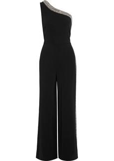 Adam Lippes Woman One-shoulder Crystal-embellished Cady Wide-leg Jumpsuit Black