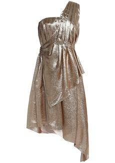 Adam Lippes Woman One-shoulder Pleated Silk-blend Lamé Dress Gold