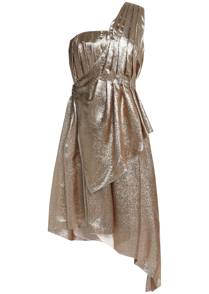 Adam Lippes Woman One-shoulder Pleated Silk-blend Lamé Dress Gold