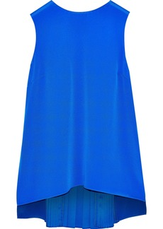 Adam Lippes Woman Pintucked Silk Crepe De Chine Top Bright Blue