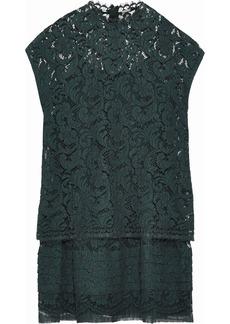 Adam Lippes Woman Pleated Cotton-blend Corded Lace Mini Dress Emerald