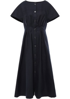 Adam Lippes Woman Pleated Cotton-twill Midi Dress Midnight Blue