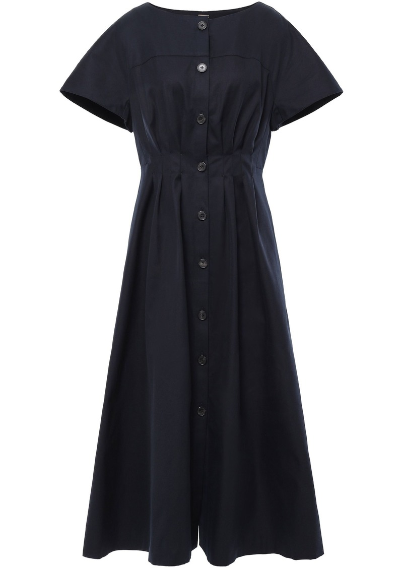 Adam Lippes Woman Pleated Cotton-twill Midi Dress Midnight Blue