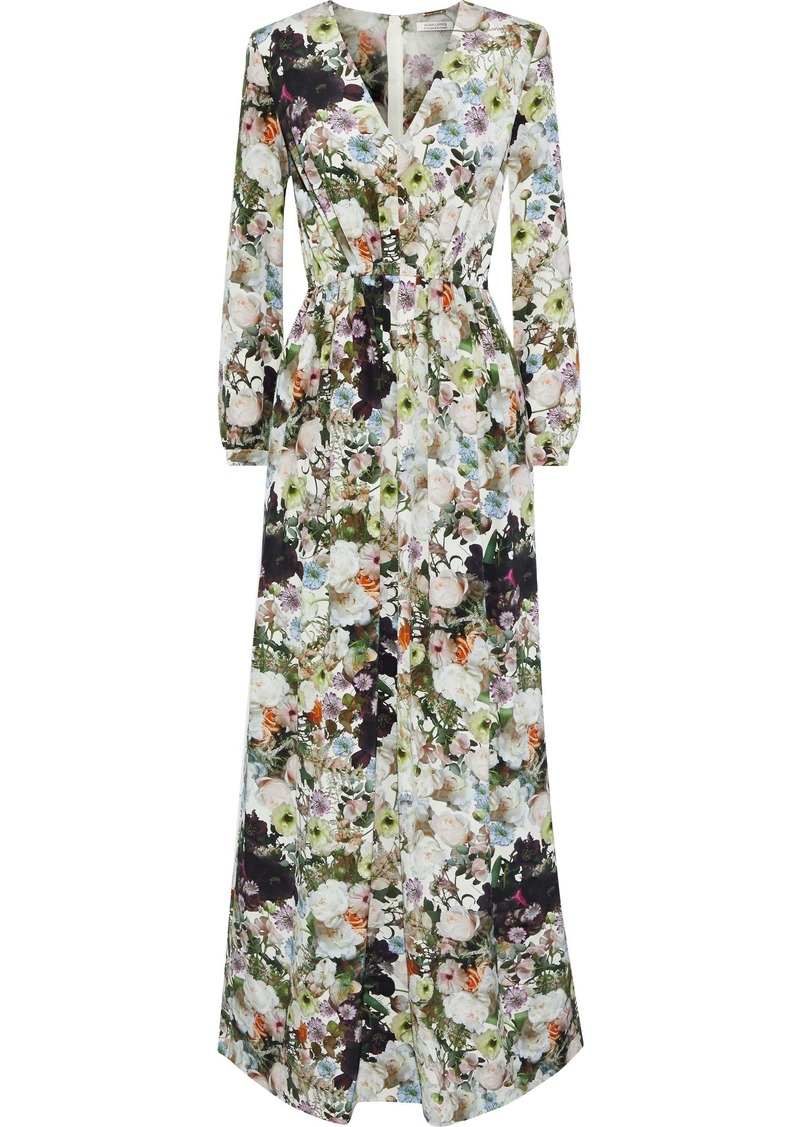 Adam Lippes Woman Pleated Floral-print Silk-crepe Maxi Dress Multicolor
