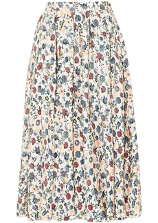 Adam Lippes Woman Pleated Floral-print Silk-crepe Midi Skirt Multicolor