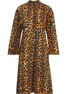 Adam Lippes Woman Pleated Leopard-print Cotton-poplin Dress Animal Print