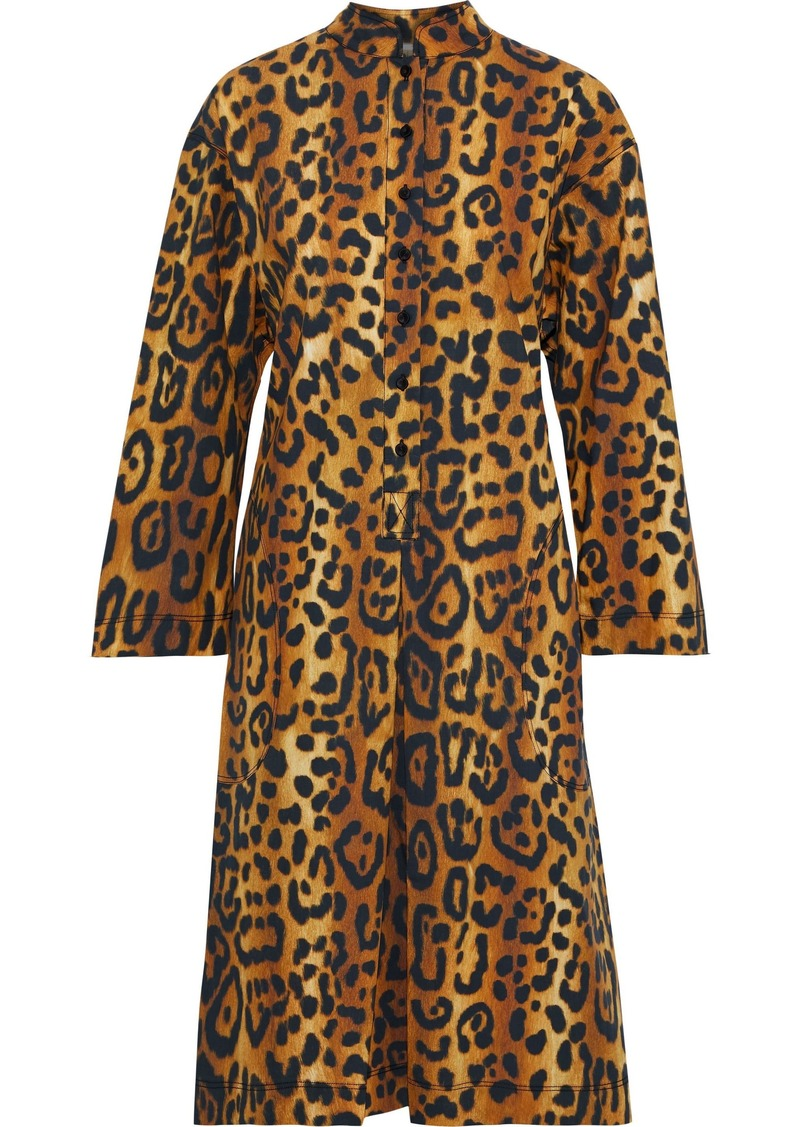 Adam Lippes Woman Pleated Leopard-print Cotton-poplin Dress Animal Print