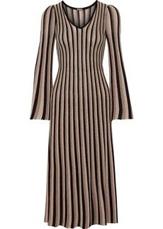 Adam Lippes Woman Pleated Metallic Striped Knitted Midi Dress Sand