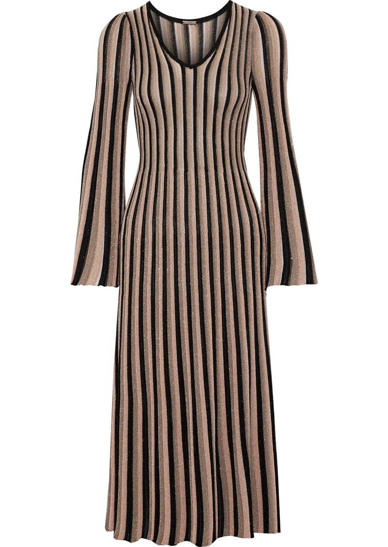 Adam Lippes Woman Pleated Metallic Striped Knitted Midi Dress Sand