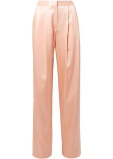 Adam Lippes Woman Pleated Silk-charmeuse Wide-leg Pants Peach