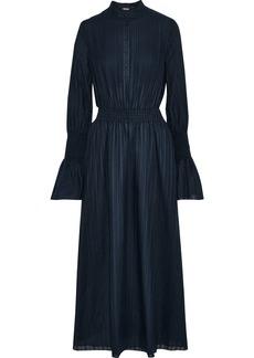 Adam Lippes Woman Shirred Textured Cotton-voile Midi Dress Navy