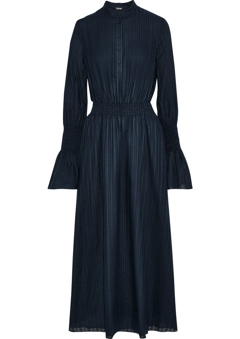 Adam Lippes Woman Shirred Textured Cotton-voile Midi Dress Navy