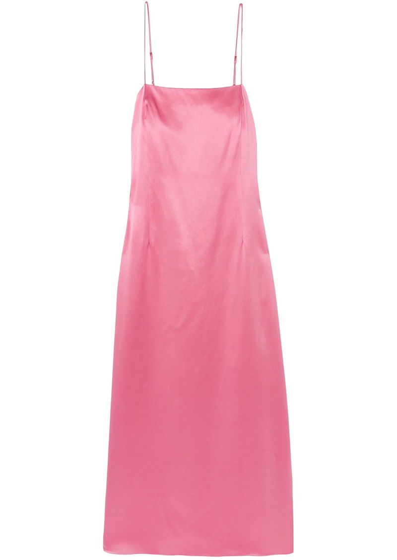 Adam Lippes Woman Silk-satin Midi Slip Dress Baby Pink