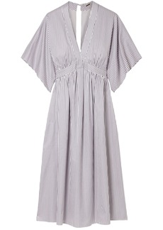 Adam Lippes Woman Striped Cotton-twill Dress Light Blue