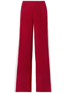 Adam Lippes Woman Striped Silk-crepe Wide-leg Pants Crimson