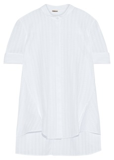 Adam Lippes Woman Textured Cotton-voile Shirt White