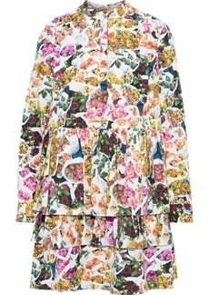Adam Lippes Woman Tiered Floral-print Cotton And Silk-blend Faille Mini Dress Multicolor