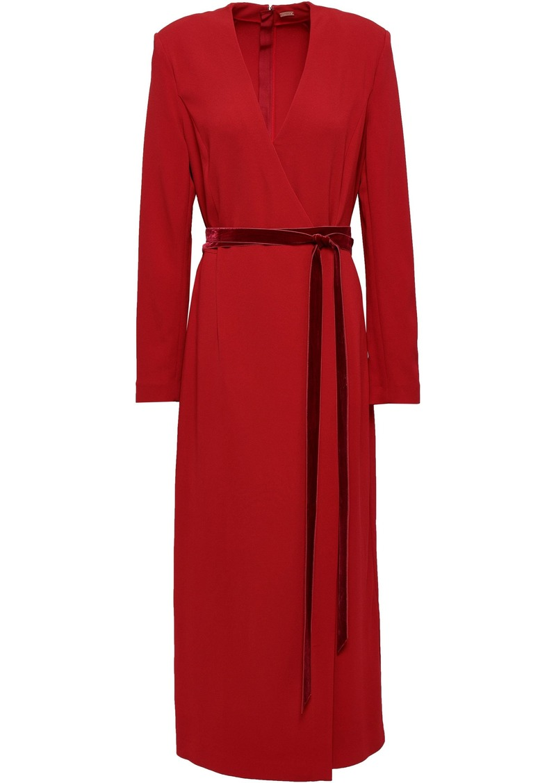 Adam Lippes Woman Wrap-effect Crepe Midi Dress Claret