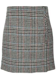 Adam Lippes Woman Wrap-effect Houndstooth Wool Mini Skirt Gray