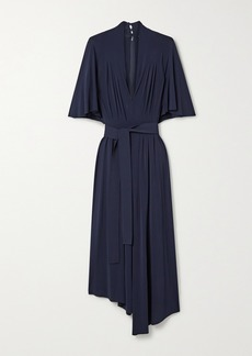 Adam Lippes Asymmetric Belted Pleated Stretch-jersey Midi Dress