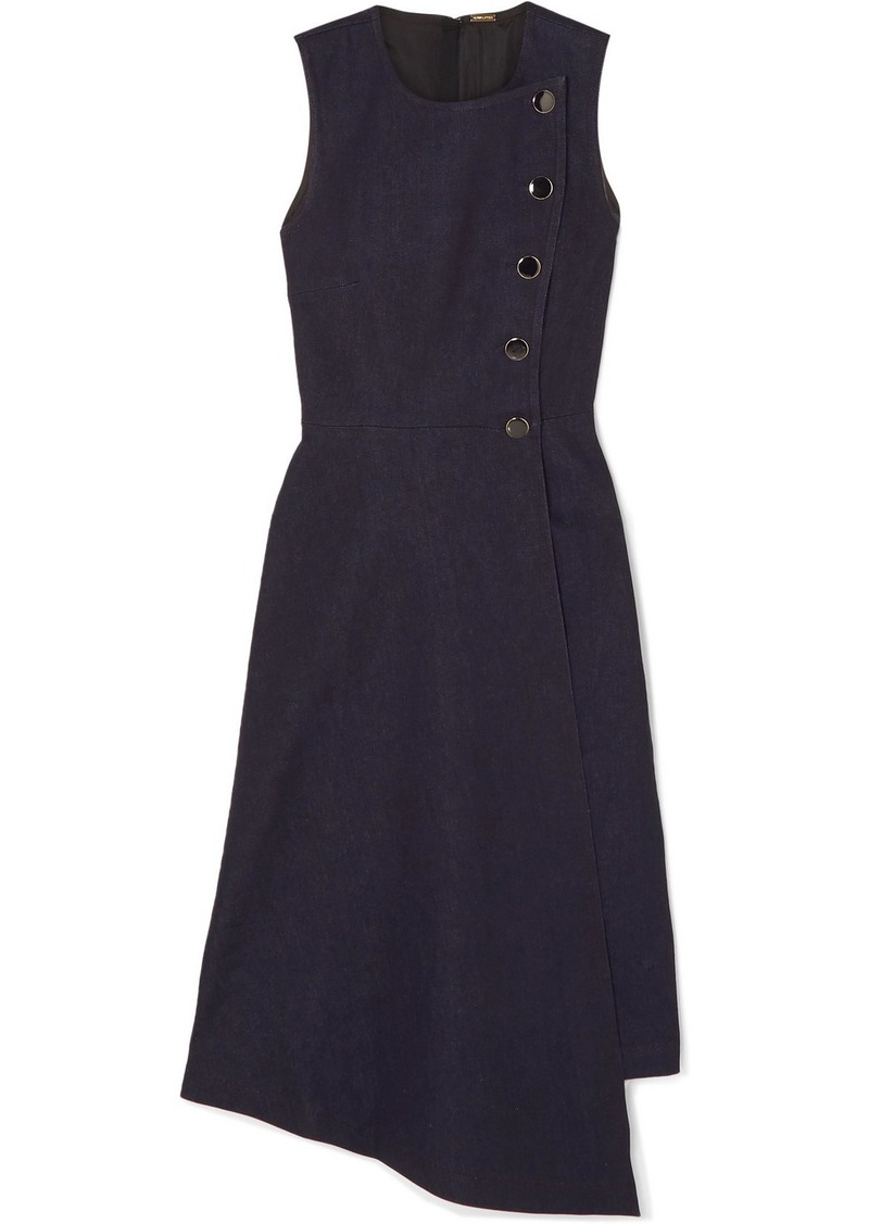 Adam Lippes Asymmetric Wrap-effect Denim Dress