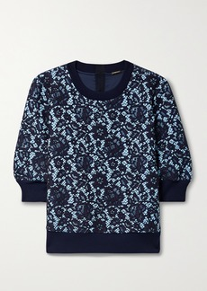 Adam Lippes Bonded Corded Lace And Jersey Sweatshirt