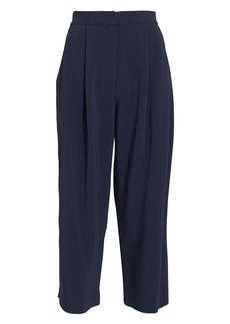 Adam Lippes Cady Pleat Front Navy Culottes